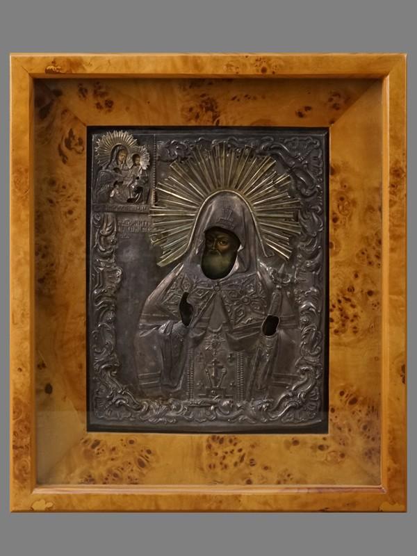 Икона «Святой Митрофан Воронежский», дерево, темпера, оклад серебро 84 пробы, XIX век, 21,5 × 17,5см; киот