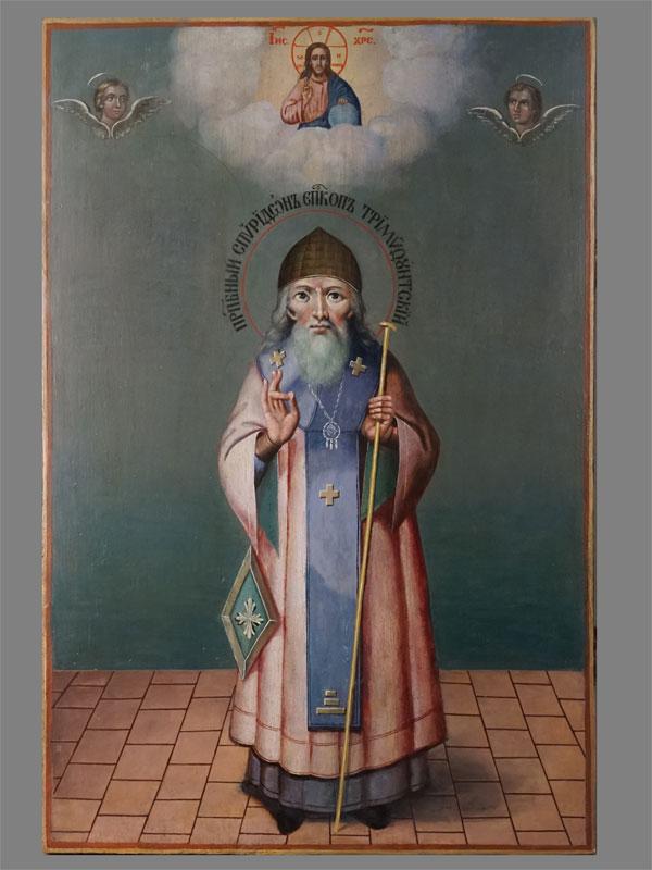 Икона «Святой Преподобный Спиридон Епископ Тримифунтский», дерево, масло, середина XIX века, 70 × 47см