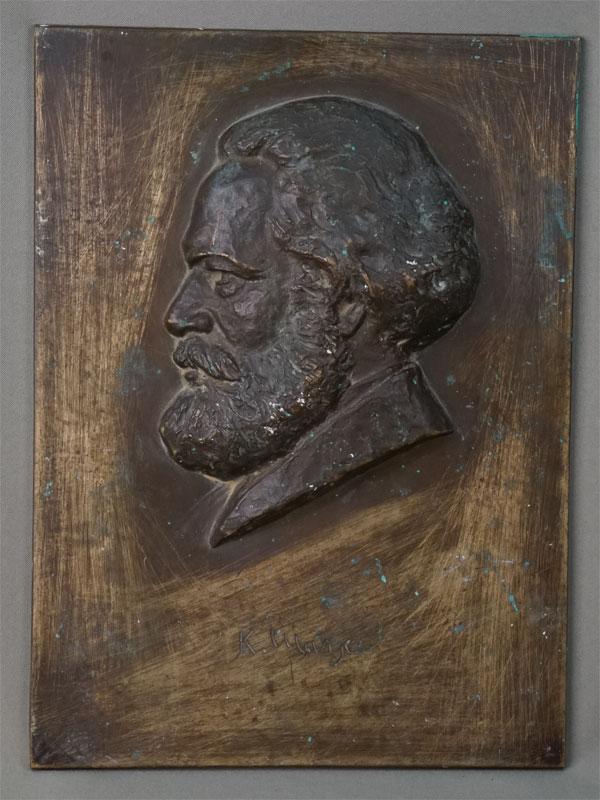 Барельеф «Карл Маркс», бронза. Берлин, скульптор J.F.Rocce, 30×22см