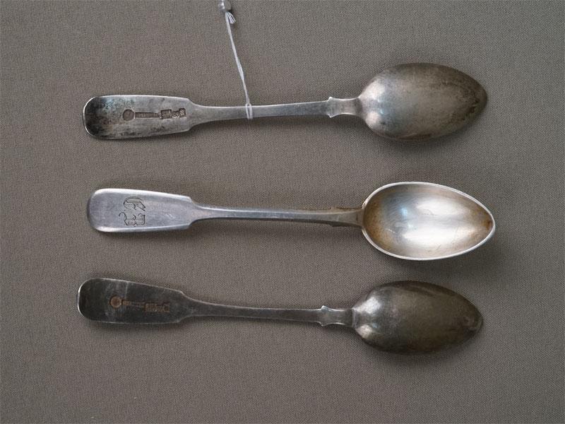Три чайные ложки, серебро 84 пробы, общий вес 80,0г. Москва, Хлебников, 1893 год