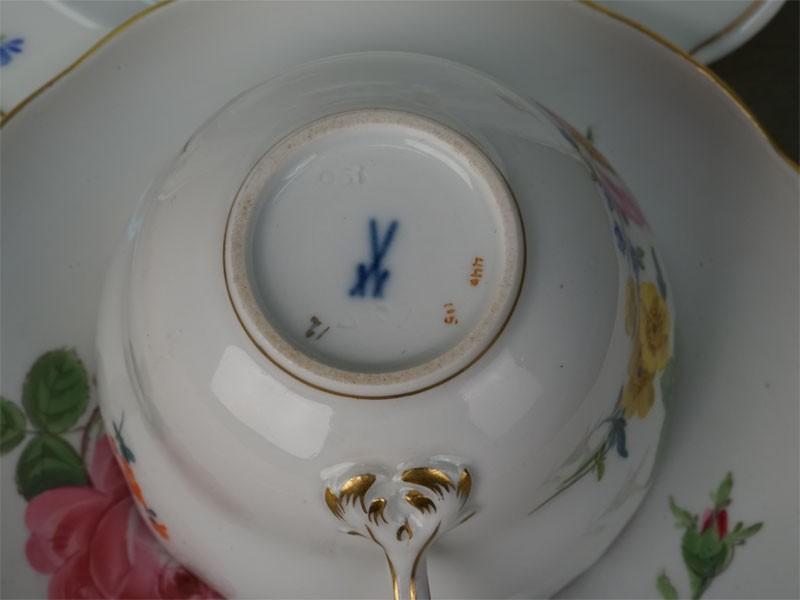 Чайная пара и пирожковая тарелка, фарфор, роспись. Германия, Мейсен, середина  XX века (подбор)
