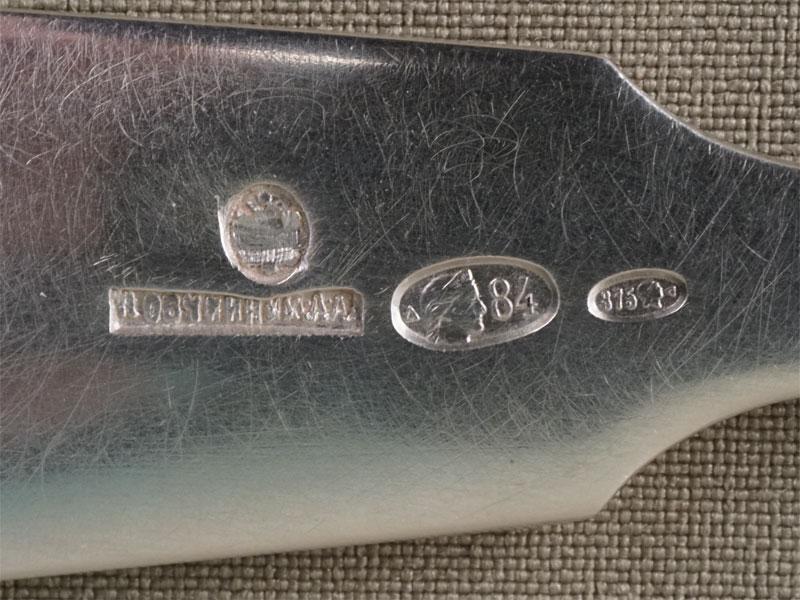 Вилка столовая, серебро 84 пробы, общий вес 79,05г., клеймо «Овчинников»
