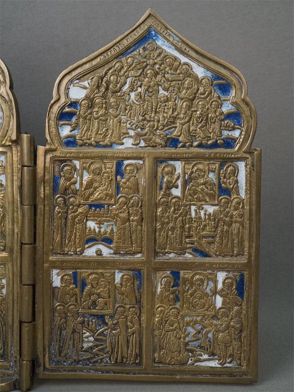 Складень «Праздники», 4 створки, медное литье, эмаль, 18,5 × 40см