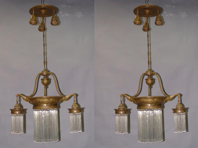 Парные люстры, бронза, латунь, 7 световых точек, начало XX века, высота 112см