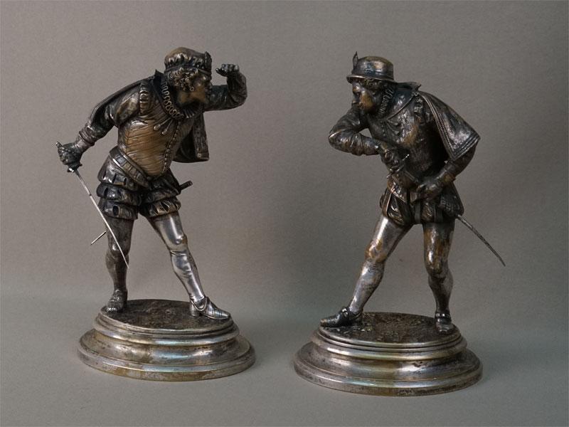 Пара скульптур «Дуэлянты», бронза, серебрение, высота 23см. Франция, конец XIX – начало XX века