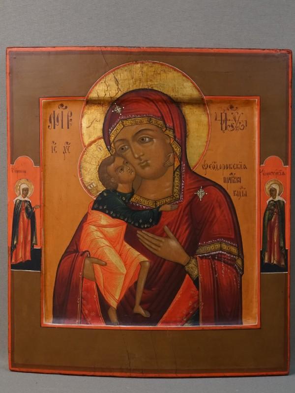 Икона «Пресвятая Богородица Федоровская», дерево, левкас, темпера, позолота, XIX век, 27,3 × 24см