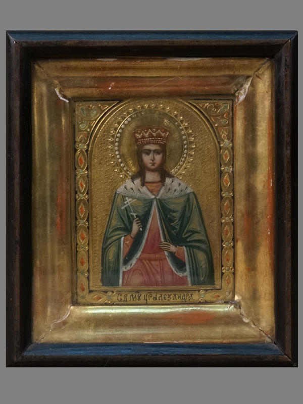 Икона «Святая Мученица Царица Александра», дерево, левкас, темпера, позолота, XIX век, 11,2 × 8,6см; киот
