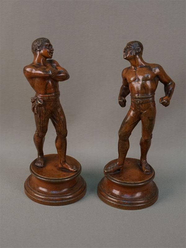 Пара скульптур «Борцы перед схваткой», бронза, литье, патинирование. Франция, конец XIX – начало XX века, высота 19,5см