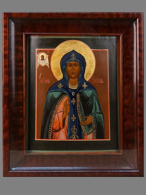 Икона «Святая Преподобная Ксения», дерево, масло, золочение. Поволжье, XlX век, 31,2 × 25,8см; киот