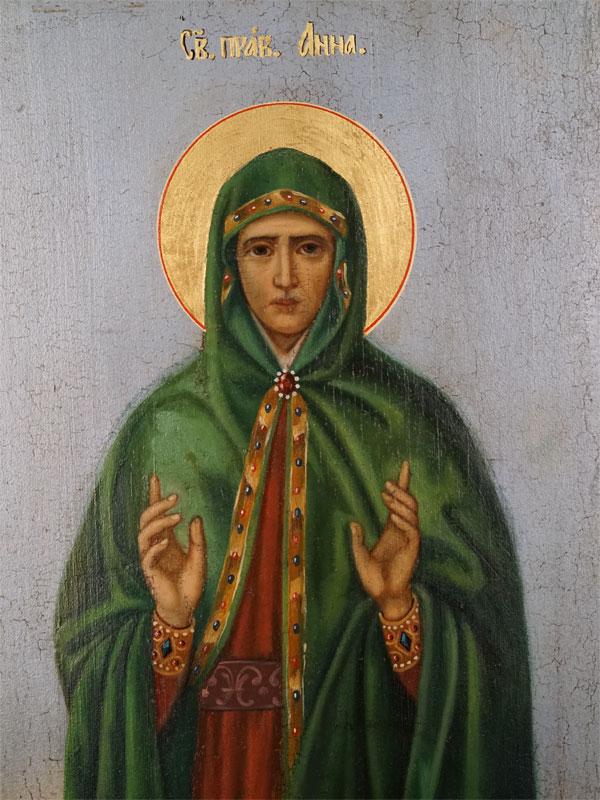 Икона «Святая Праведная Анна», дерево, масло, золочение. Центральная Россия, XIX век, 53,5 × 24,2см