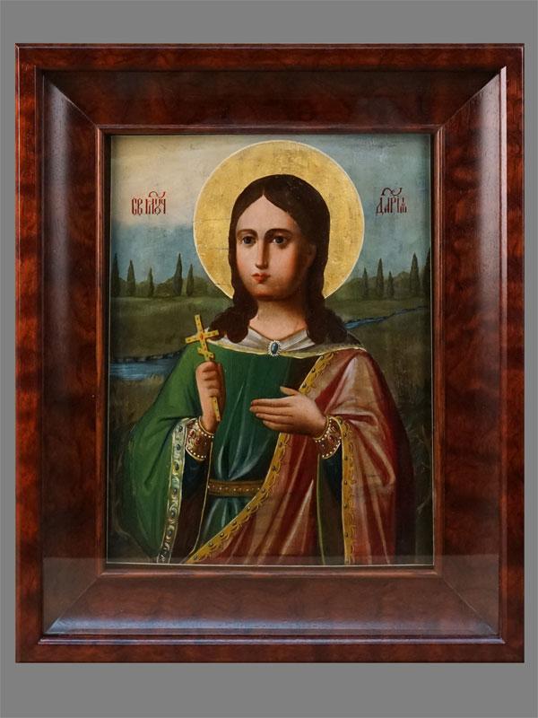 Икона «Святая Мученица Дарья», дерево, масло, золочение. С.-Петербург, XIX век, 31 × 23,5см; киот