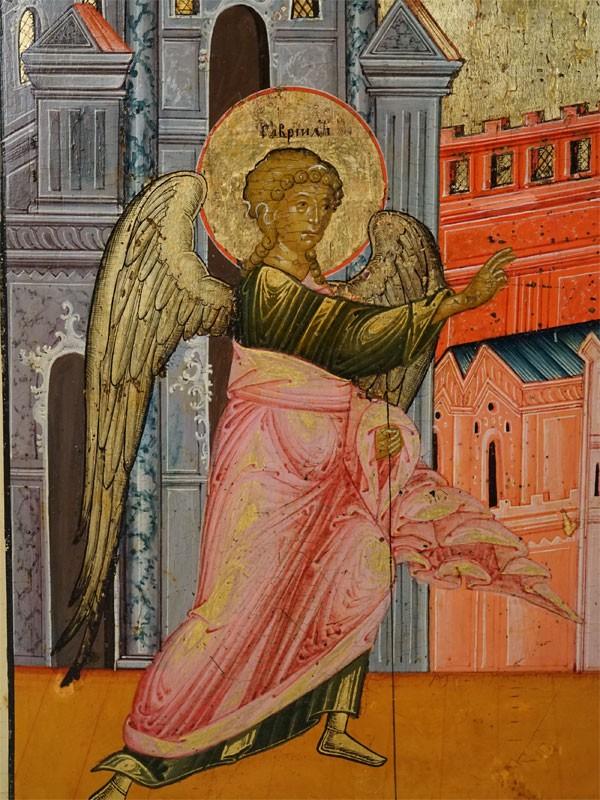 Икона «Благовещение Пресвятой Богородицы», дерево, левкас, темпера, золочение, XIX век, 29,8 × 24см
