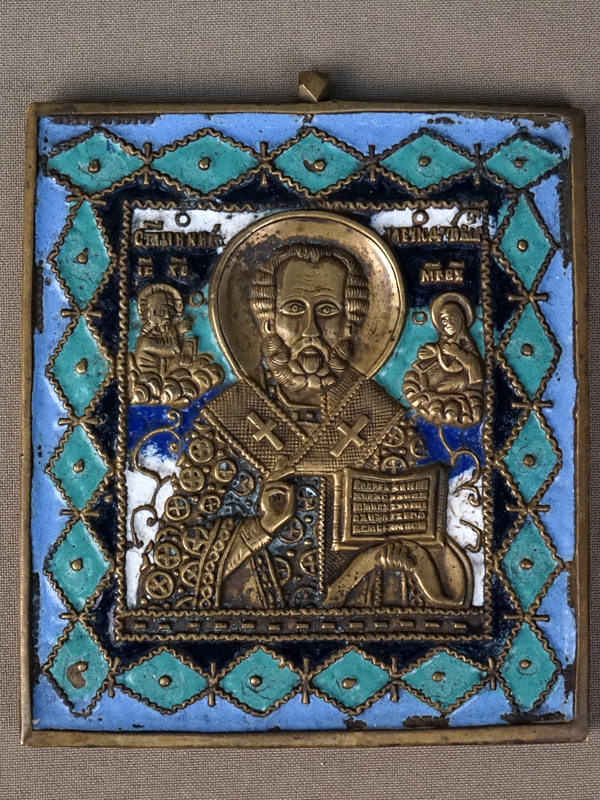 Икона «Святой Николай Чудотворец», медное литье, эмаль, 11,2 × 9,8см