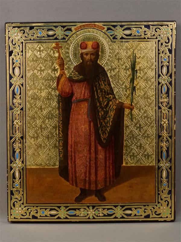 Икона «Святой Князь Вячеслав Чешский», дерево, смешанная техника, золочение, конец XIX века, 32 × 27см