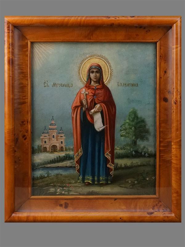 Икона «Святая Мученица Валентина», дерево, масло, конец XIX века, 33 × 27см; киот