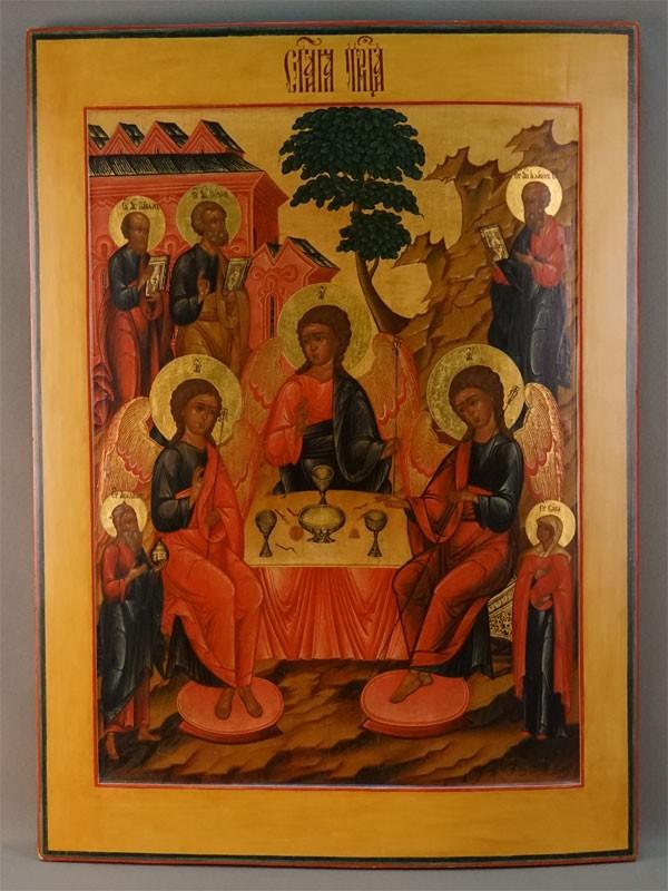 Икона «Святая Троица Ветхозаветная», дерево, левкас, темпера, сусальное и твореное золото. Палех, начало XIX века, 78 × 57,5 см