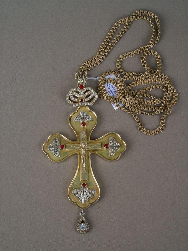 Антиквариат. Крест наперсный. цепь, серебро