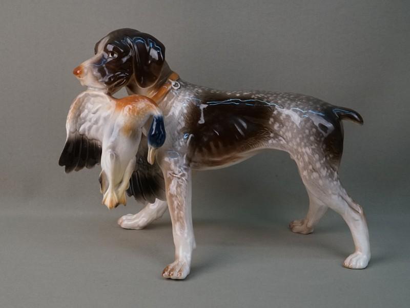 Скульптура «Охотничья собака с уткой», фарфор, роспись. Германия, 1950-е годы, длина 32см
