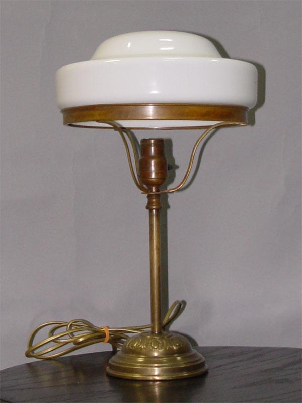 Лампа настольная, латунь, стекло, 1 световая точка, 45 × 26см (В × Ш)