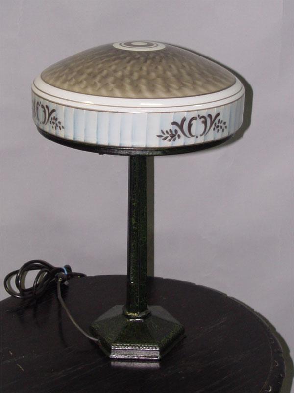 Лампа настольная, металл, стекло, роспись, 2 световые точки, 49 × 30см (В × Ш)
