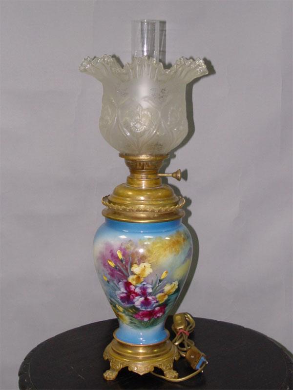 Лампа настольная «Керосинка», бронза, стекло, роспись, 1 световая точка, 65 × 24см (В × Ш)