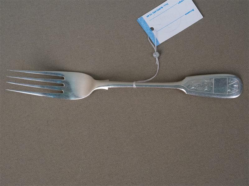 Вилка, десертная, серебро 84 пробы, общий вес 24,89г.