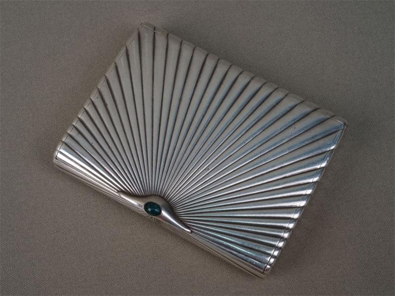 Портсигар, серебро 84 пробы, общий вес 193,23 г., 10 × 7,5 см