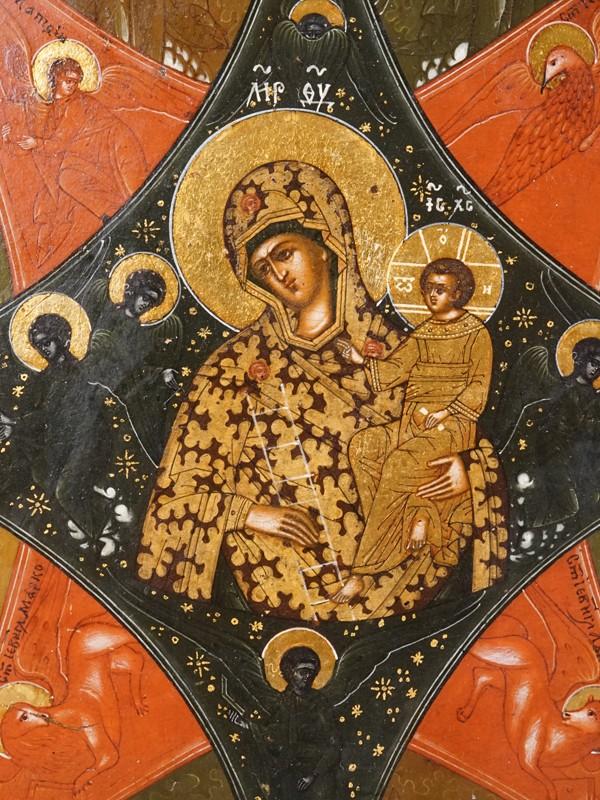 Икона «Пресвятая Богородица Неопалимая Купина», дерево, левкас, темпера, золочение, XIX век, 31 × 27см