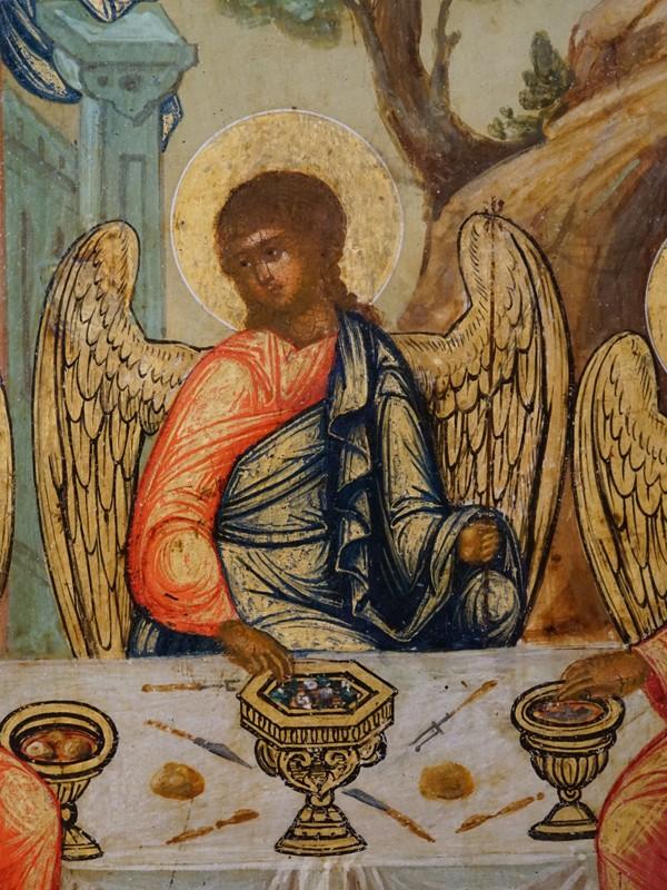 Икона «Святая Троица», дерево, левкас, темпера, золочение, XIX век, 31 × 26,5см