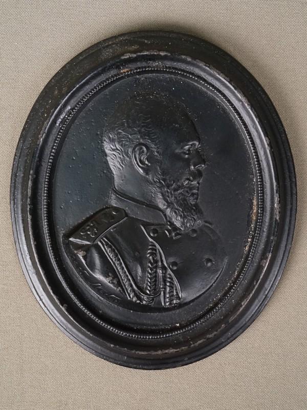 Барельеф «Император Александр III», чугун, литье, покраска. Касли, А.Молчалин, 1894 год, 12 × 10см