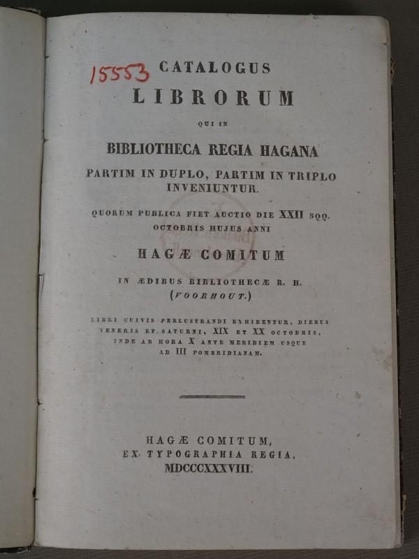 Каталог Аукциона книг из Королевской библиотеки в Гааге