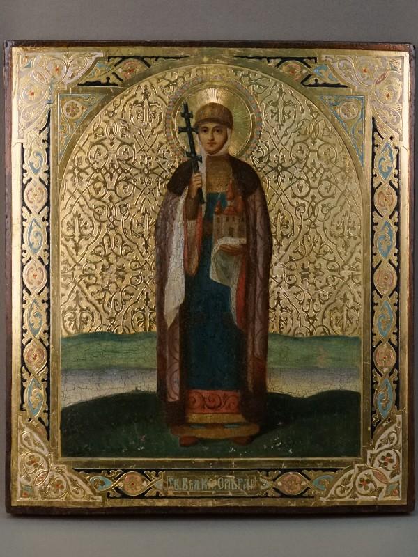 Икона «Святая Равноапостольная Княгиня Ольга», дерево, смешанная техника, холодные эмали, золочение, конец XIX века, 35,7 × 31см