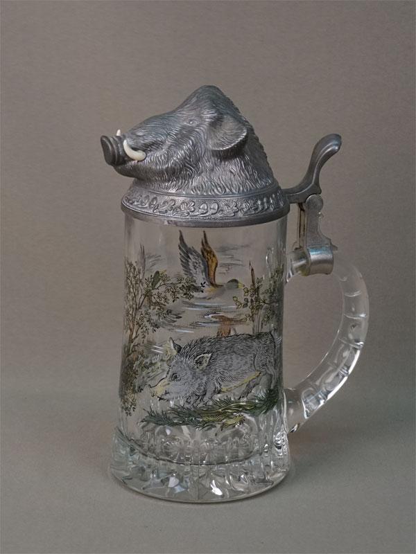 Пивная кружка «Кабан» (0,97л), стекло, металл, высота 21см, конец XX века