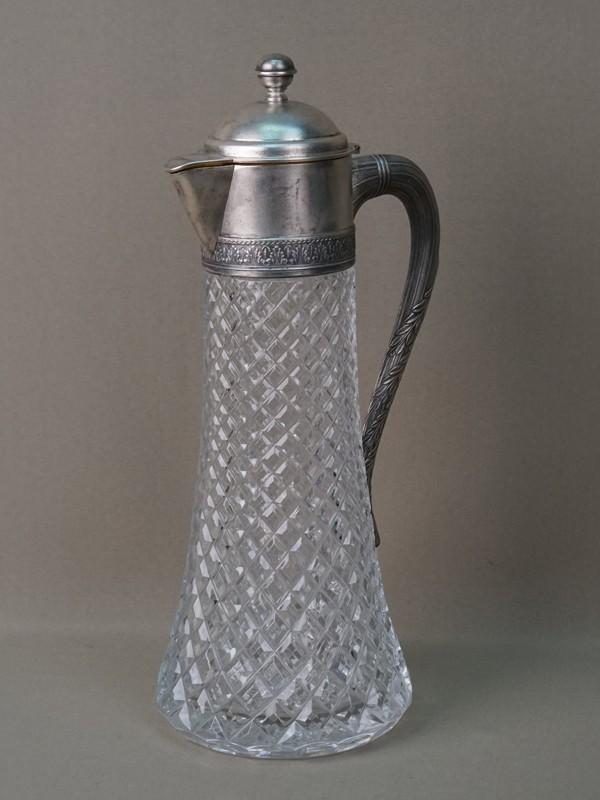 Графин, хрусталь, серебро 875 пробы, высота 34,5см