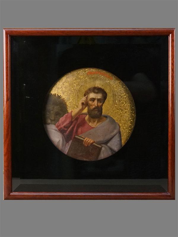 Икона в киоте «Святой Евангелист Марк», дерево, масло, золочение, конец XIX века, диаметр 22см