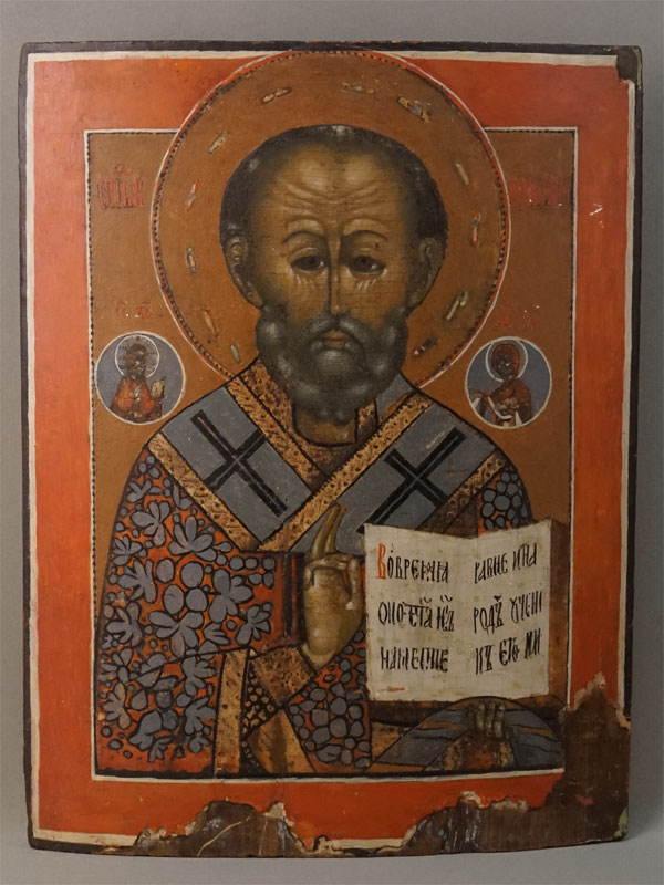 Икона «Святой Николай Чудотворец», дерево, левкас, темпера, XIX век, 42,5 × 33см (утраты)