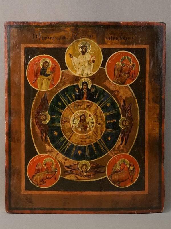 Икона «Всевидящее Око Божие», дерево, масло, конец XIX века, 34,5 × 27см
