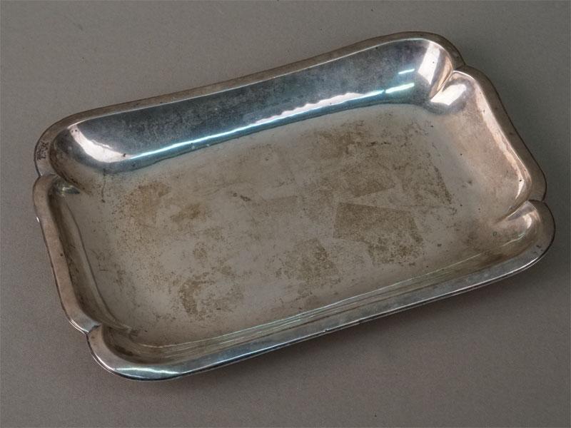 Поднос-визитница, серебро 830 пробы, общий вес 250г., длина 26,5см