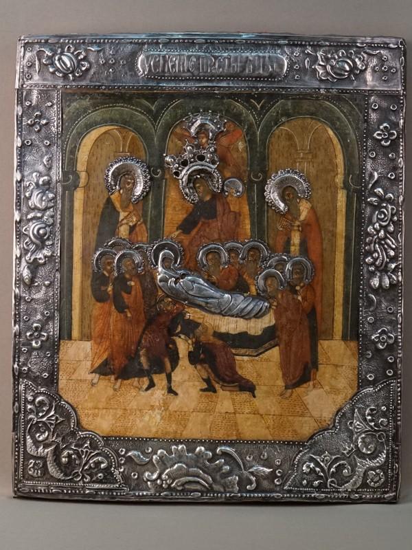 Икона «Успение Пресвятой Богородицы», дерево, левкас, темпера; оклад серебро 84 пробы; XIX век, 44 × 37см