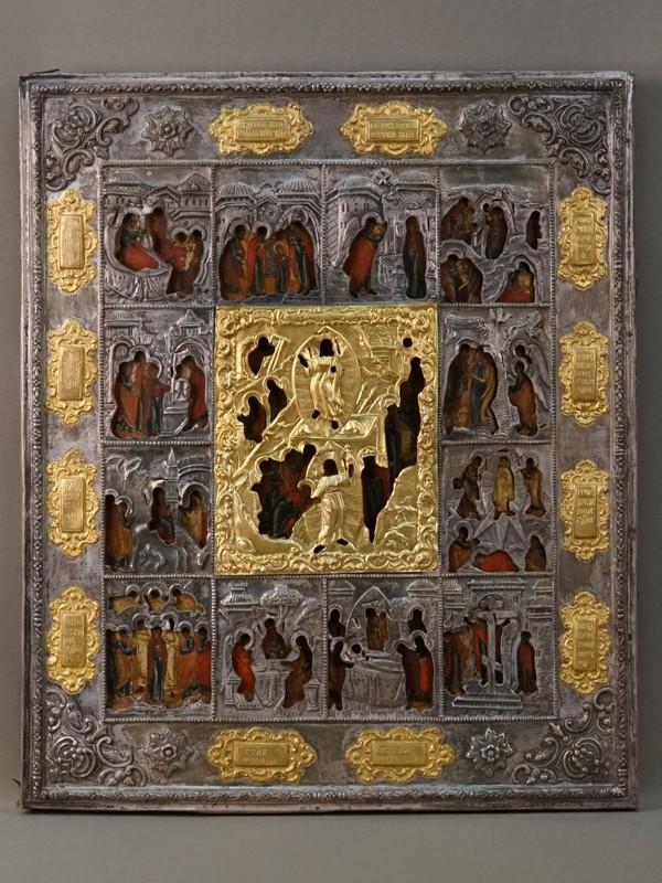 Икона «Праздники», дерево, левкас, темпера, 40 × 33,5см. Оклад серебро 84 пробы, золочение, Санкт-Петербург, 1851 год