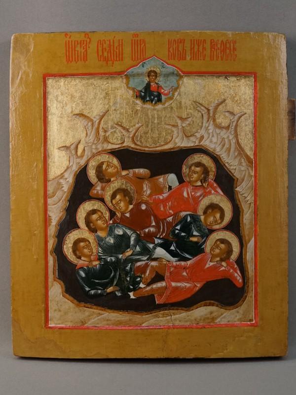 Икона «Семь спящих отроков Эфесских», дерево, левкас, темпера, XVIII век, 31 × 27см (реставрация)