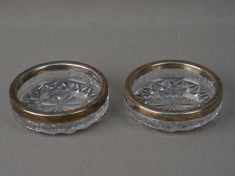 Пара розеток, хрусталь, серебро 875 пробы, диаметр 9см