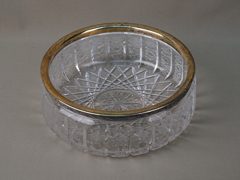 Ваза, хрусталь, серебро 875 пробы, диаметр 22,3см