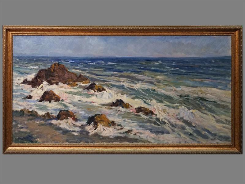 Картина в раме. Фербер В.А., «Берег моря в Крыму», холст, масло, 1960-е годы, 90 × 140см