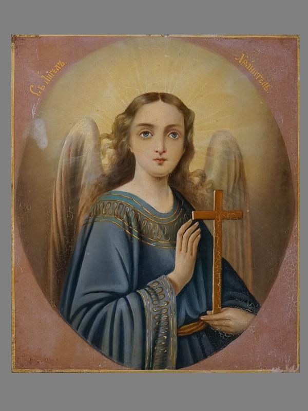 Икона «Святой Ангел Хранитель», дерево, масло, 27,6 × 23,3см, конец XIX — начало XX века