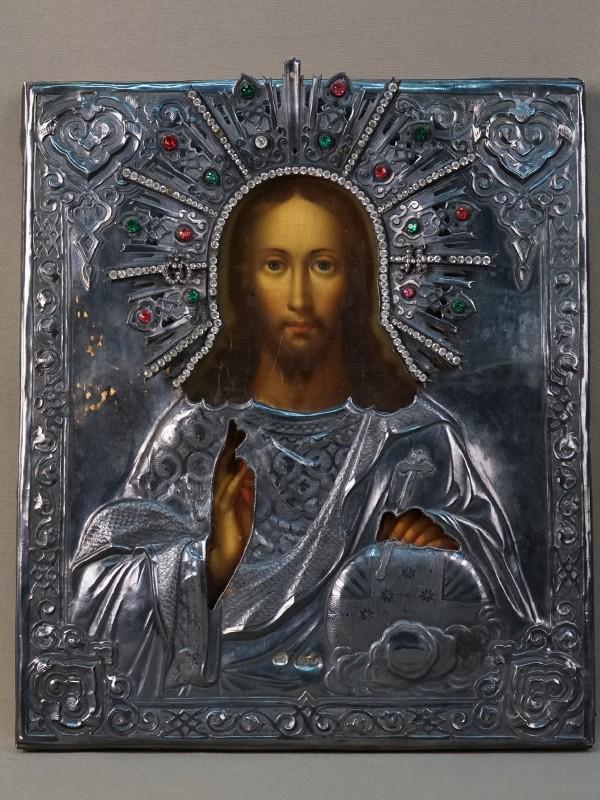 Икона «Господь Вседержитель», дерево, масло; оклад серебро 84 пробы, стразы. Москва, 1865 год, 31,4 × 26,8см
