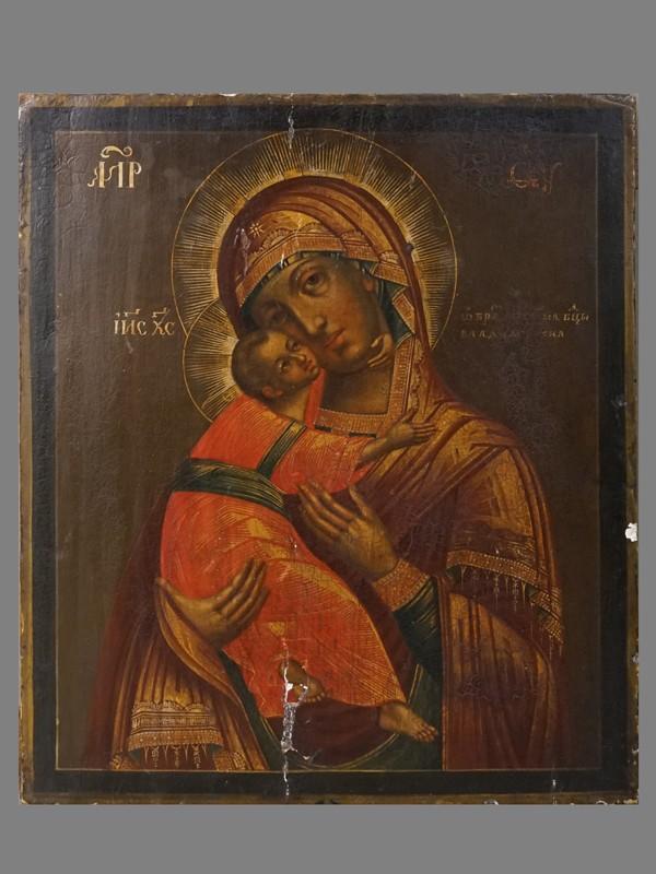 «Пресвятая Богородица Владимирская», дерево, левкас, темпера, золочение, XVIII век, 31,6 × 27см (утраты)