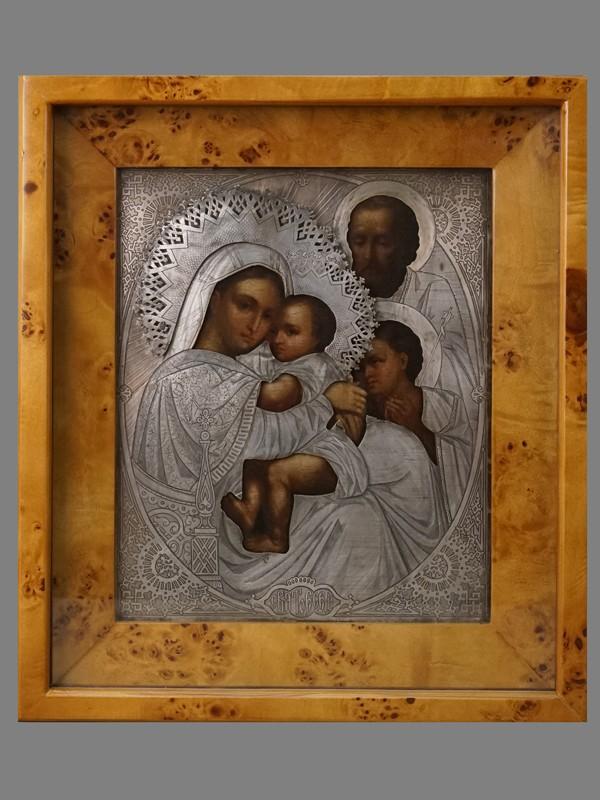 Икона в киоте «Пресвятая Богородица Трех Радостей (Святое Семейство)», дерево, масло, оклад серебро 84 пробы, XIX век, 27 × 22см