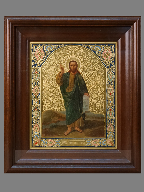 Икона в киоте «Святой Иоанн Предтеча», дерево, масло, золочение, холодные эмали, конец XIX века, 22 × 18см