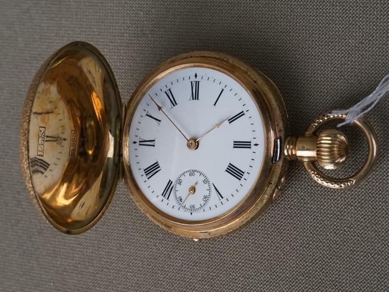 Часы карманные дамские «Птички», золото 14К (583 пробы), эмаль, общий вес 33,72г.